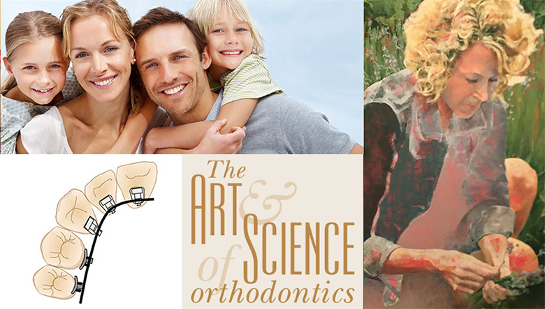 The Art & Science of Orthodontics: Collage of orthodonic appliances, orthodontic patients, and paintings